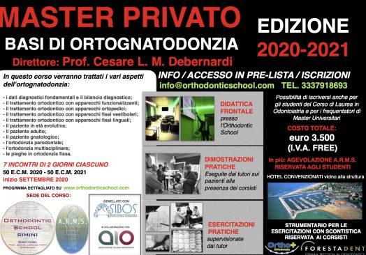 """MASTER PRIVATO """"BASI DI ORTOGNATODONZIA"""""""