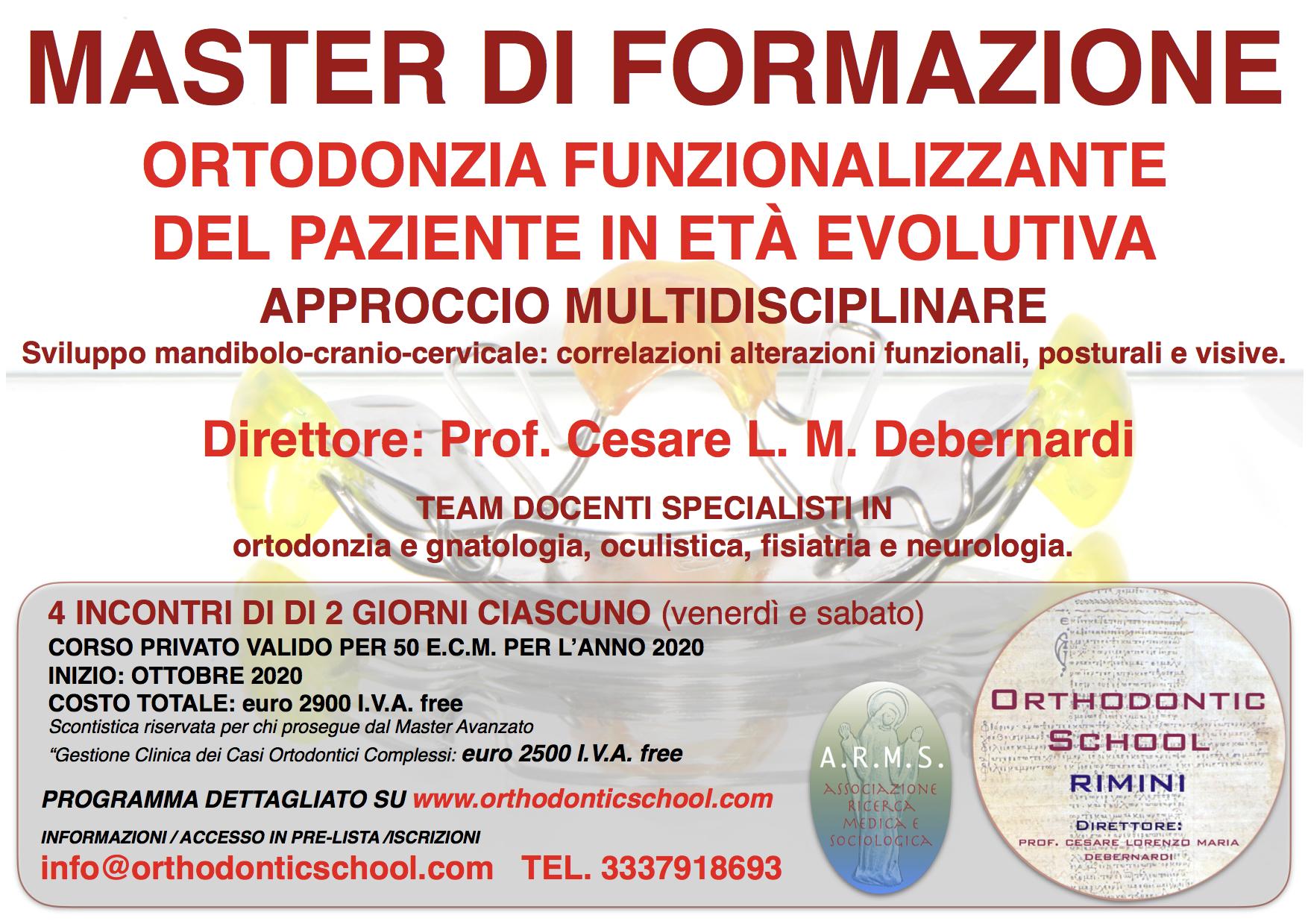 """MASTER DI FORMAZIONE PRIVATO """"Ortodonzia funzionalizzante del paziente in età evolutiva – approccio multidisciplinare"""""""